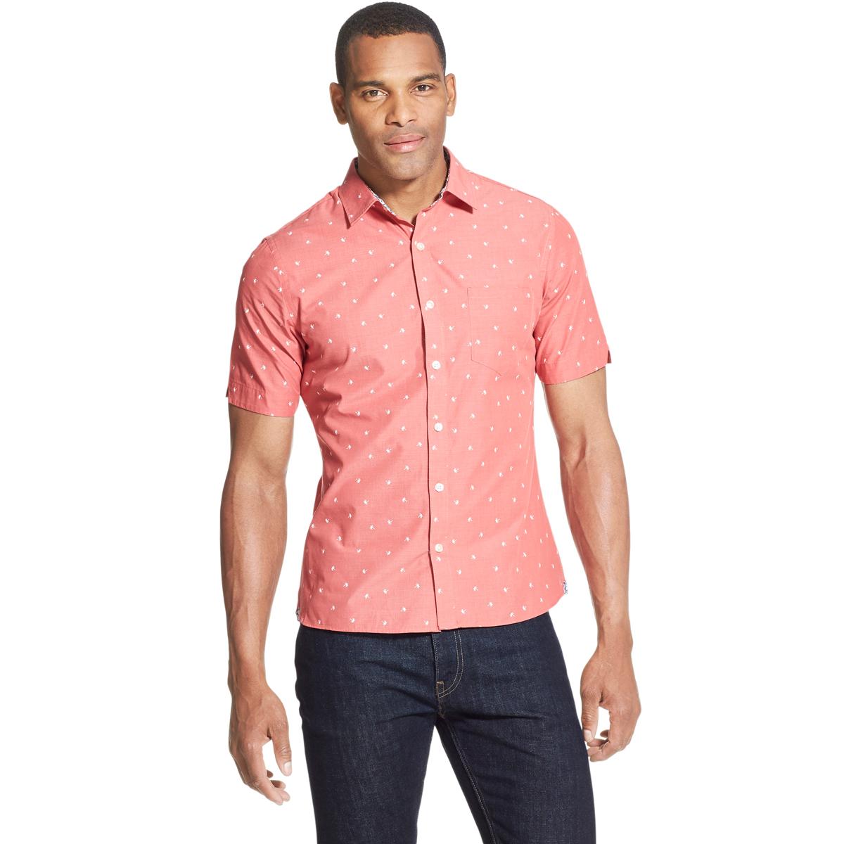 Van Heusen Men's Never Tuck Slim Fit Short-Sleeve Shirt - Red, L