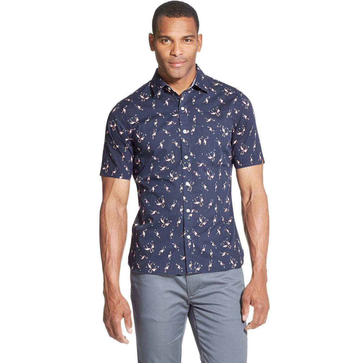 Van Heusen Men's Never Tuck Slim Fit Short-Sleeve Shirt - Blue, L