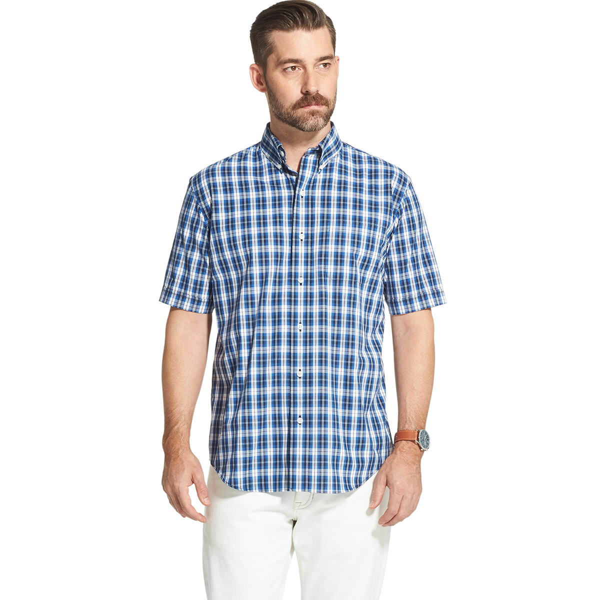 Arrow Men's Hamilton Short-Sleeve Poplin Plaid Button Down Shirt - Blue, XL