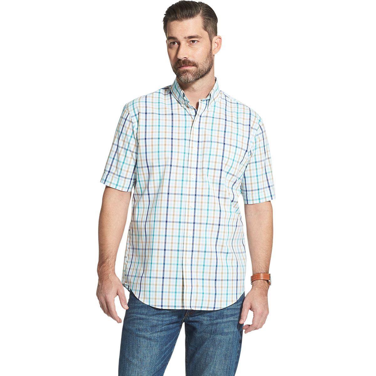 Arrow Men's Hamilton Short Sleeve Button Down Shirt - Blue, L