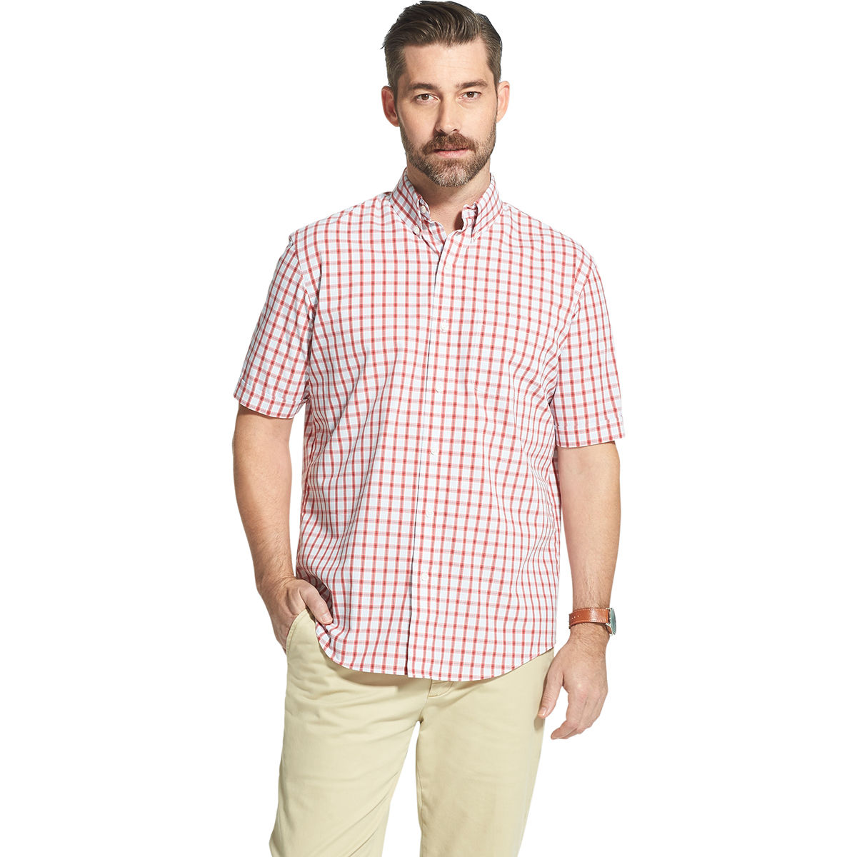Arrow Men's Hamilton Short-Sleeve Button Down Shirt - Red, L