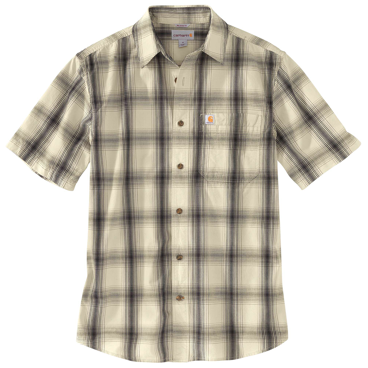 Carhartt Men's Essential Plaid Open Collar Short-Sleeve Shirt - White, S