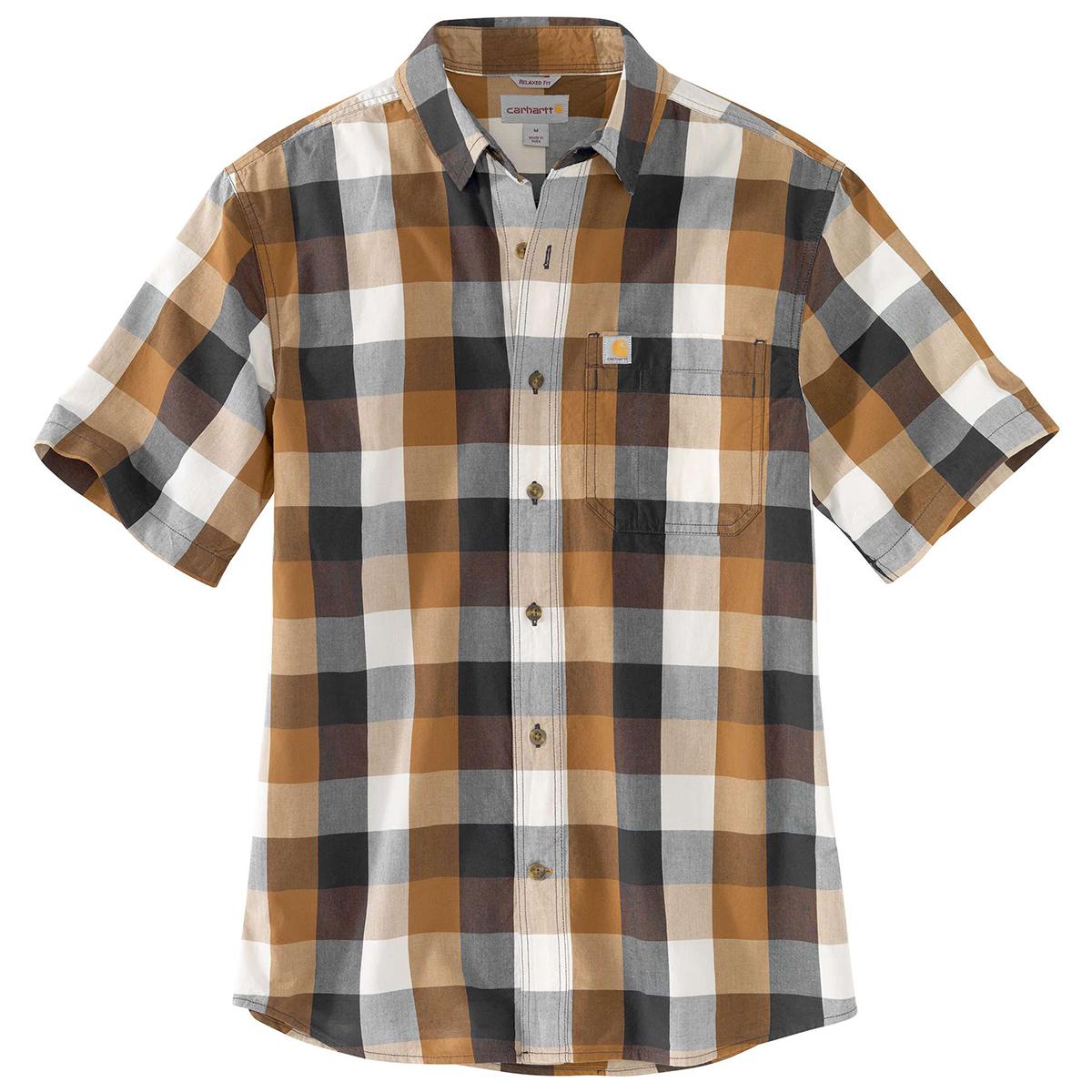 Carhartt Men's Essential Plaid Open Collar Short-Sleeve Shirt - Brown, XXL