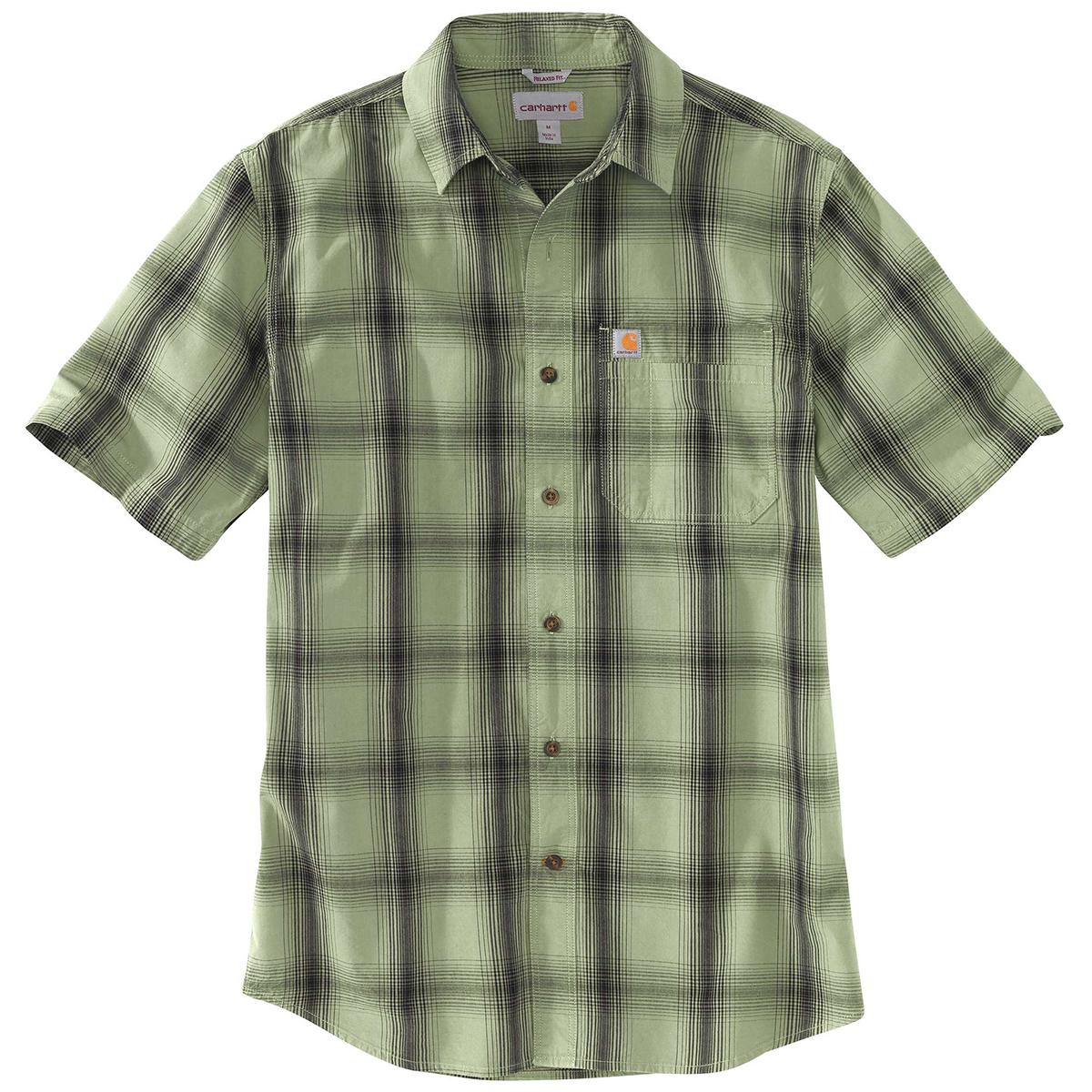 Carhartt Men's Essential Plaid Open Collar Short-Sleeve Shirt - Green, S