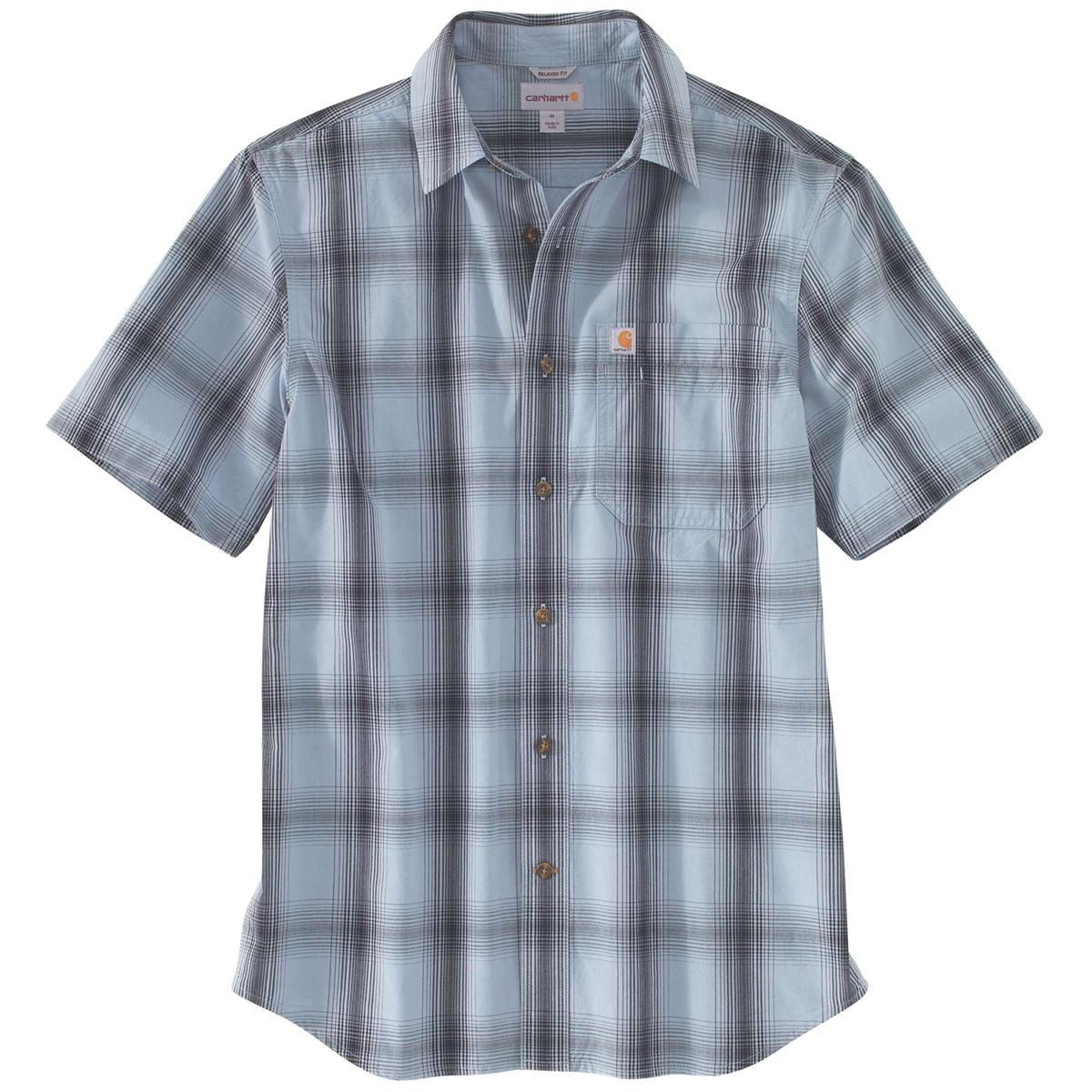 Carhartt Men's Essential Plaid Open Collar Short-Sleeve Shirt - Blue, L