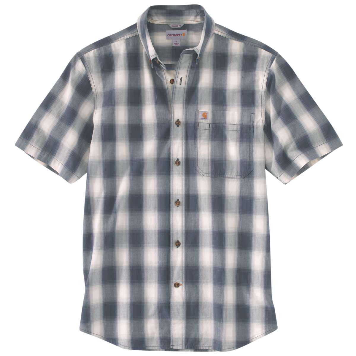 Carhartt Men's Essential Plaid Button Down Short-Sleeve Shirt - Blue, XL
