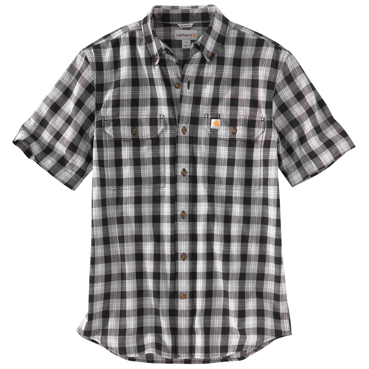 Carhartt Men's 103553 Fort Plaid Short-Sleeve Shirt - Black, XL