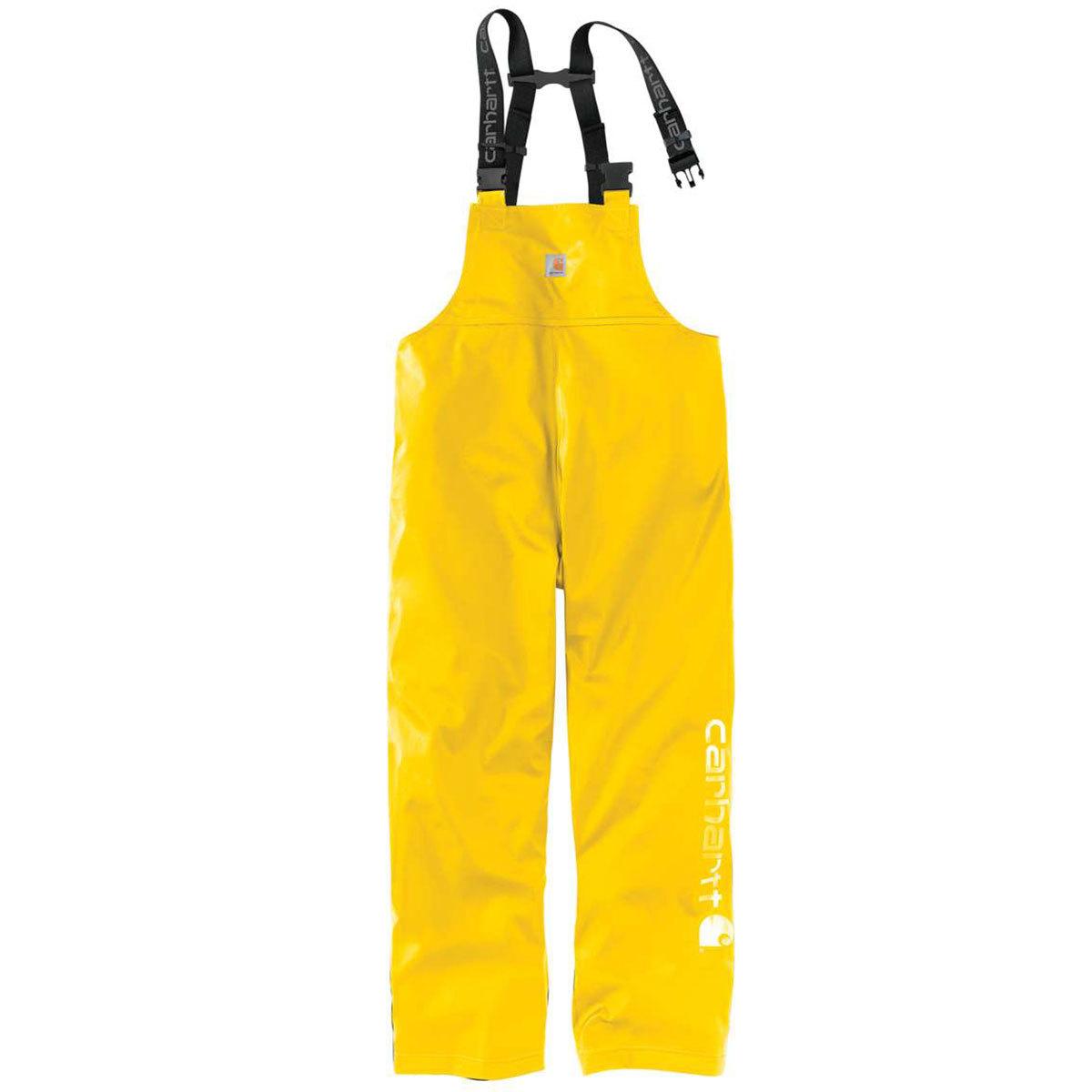 Carhartt Men's Lightweight Waterproof Rainstorm Bib Overalls - Yellow, XL