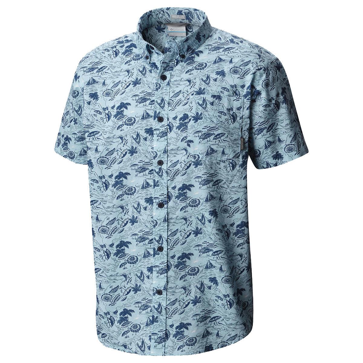 "Columbia Men's Rapid Riversa""  Printed Short-Sleeve Shirt - Blue, XL"