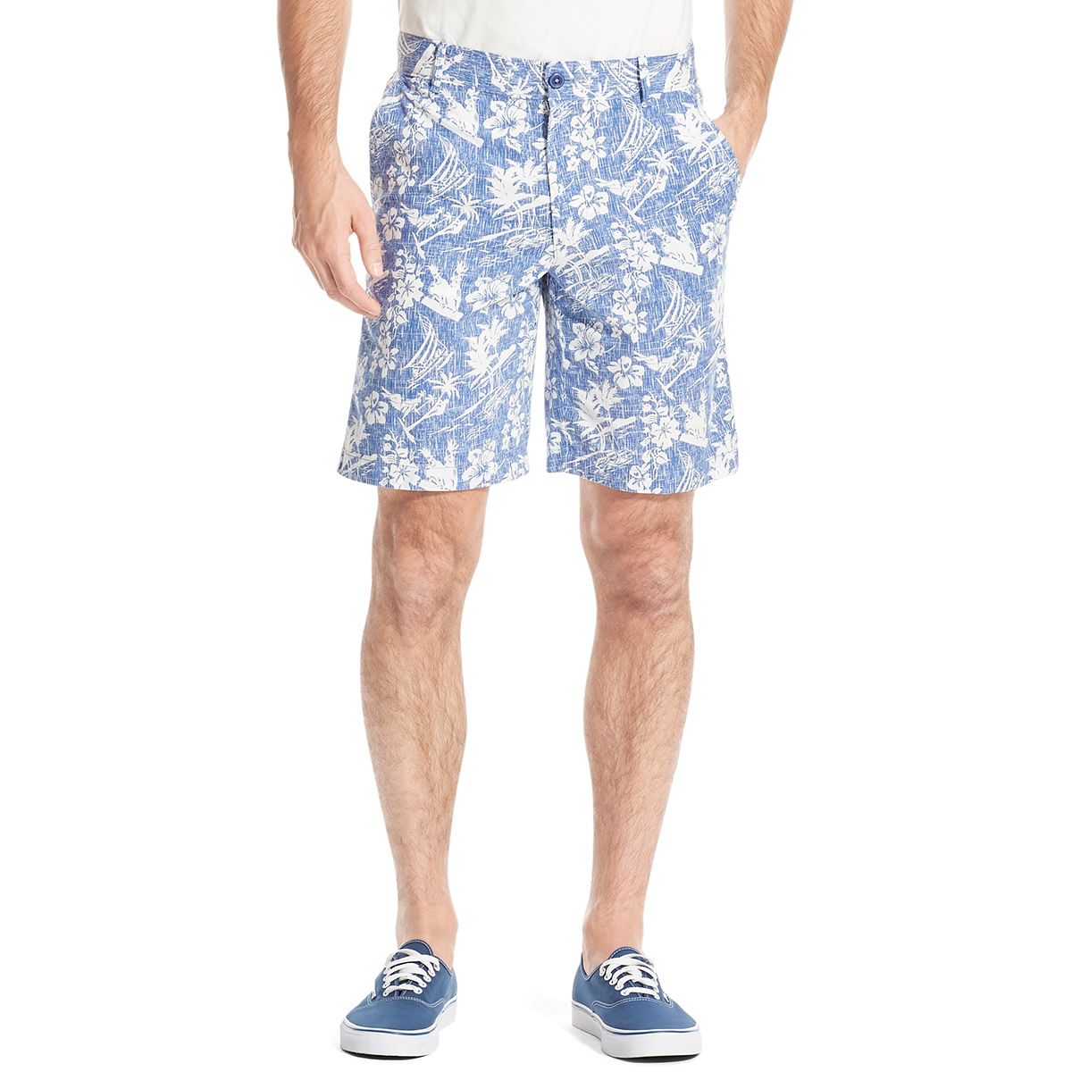 Izod Men's Saltwater Stretch Shorts - Blue, 34