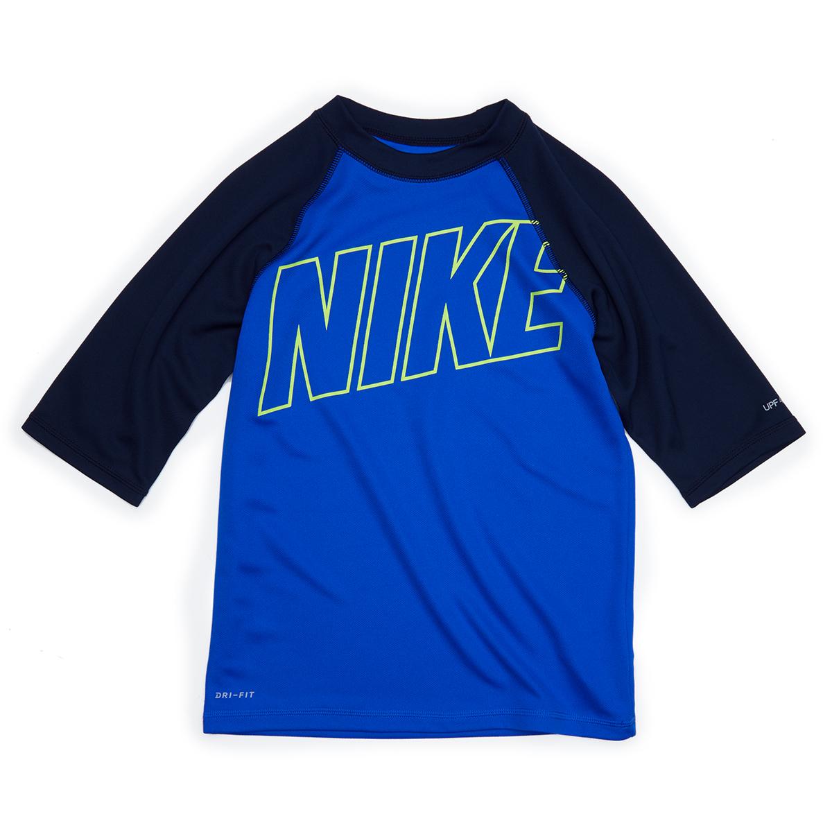 Nike Big Boys' Logo Short-Sleeve Hydroguard - Blue, M