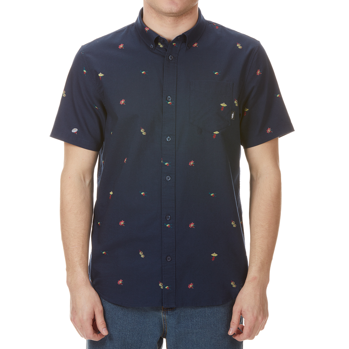 Vans Guys' Houser Woven Short-Sleeve Shirt - Blue, L