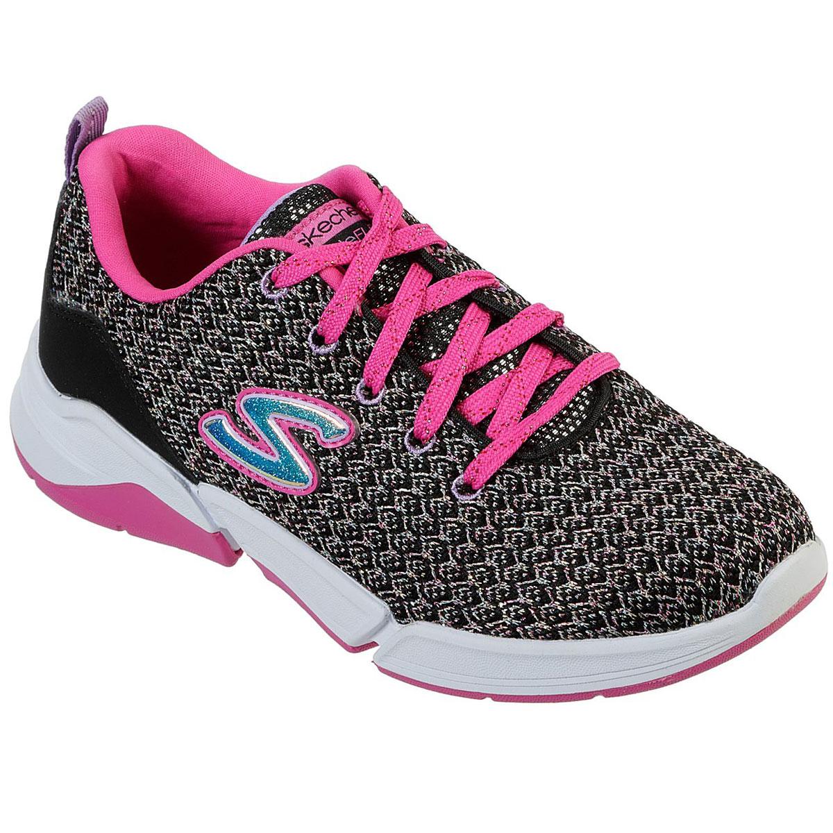 Skechers Little Girls' Triple Flex Sparkle Knit Lace Up Shoes - Black, 3