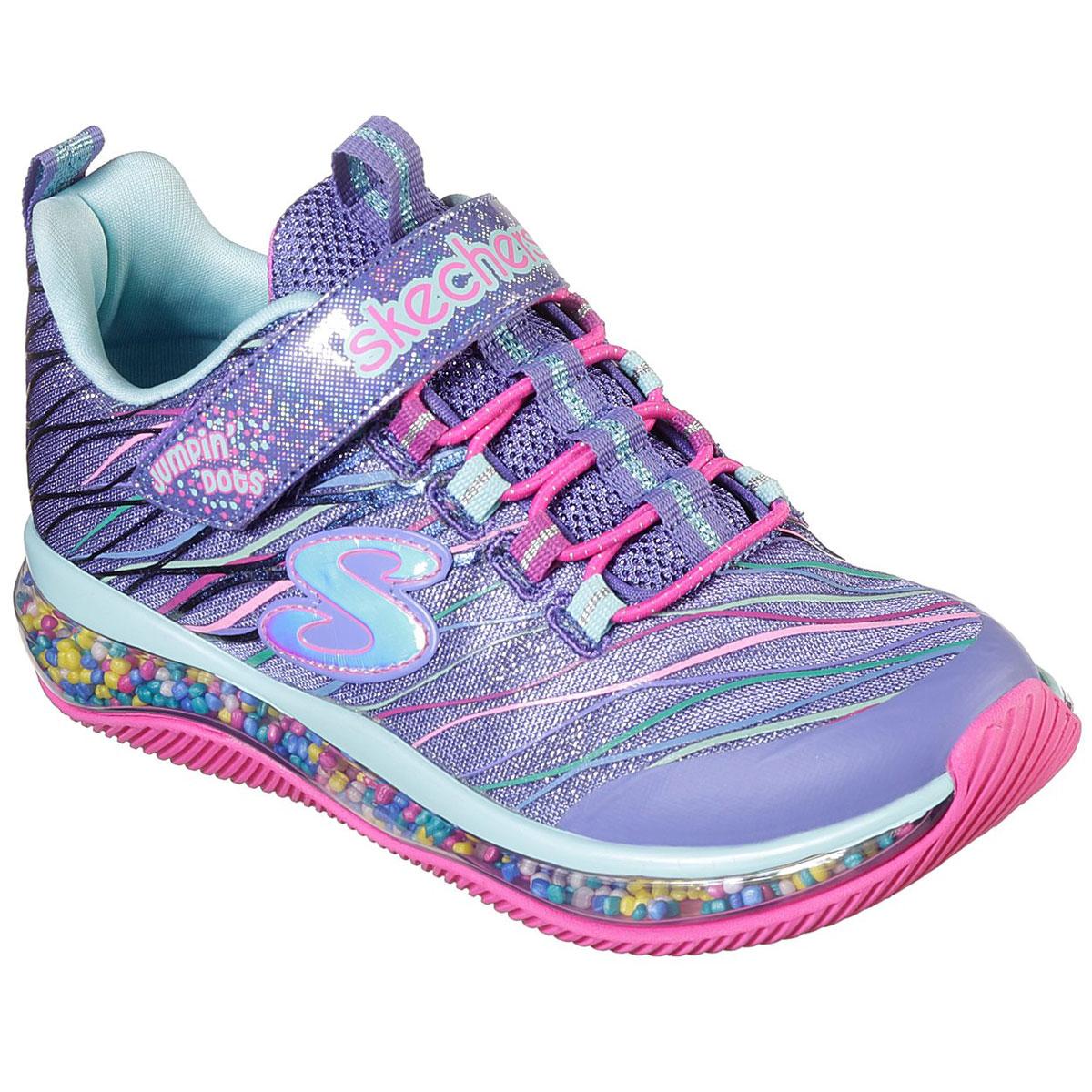 Skechers Little Girls' Jumpin' Dots Sneakers - Blue, 1.5