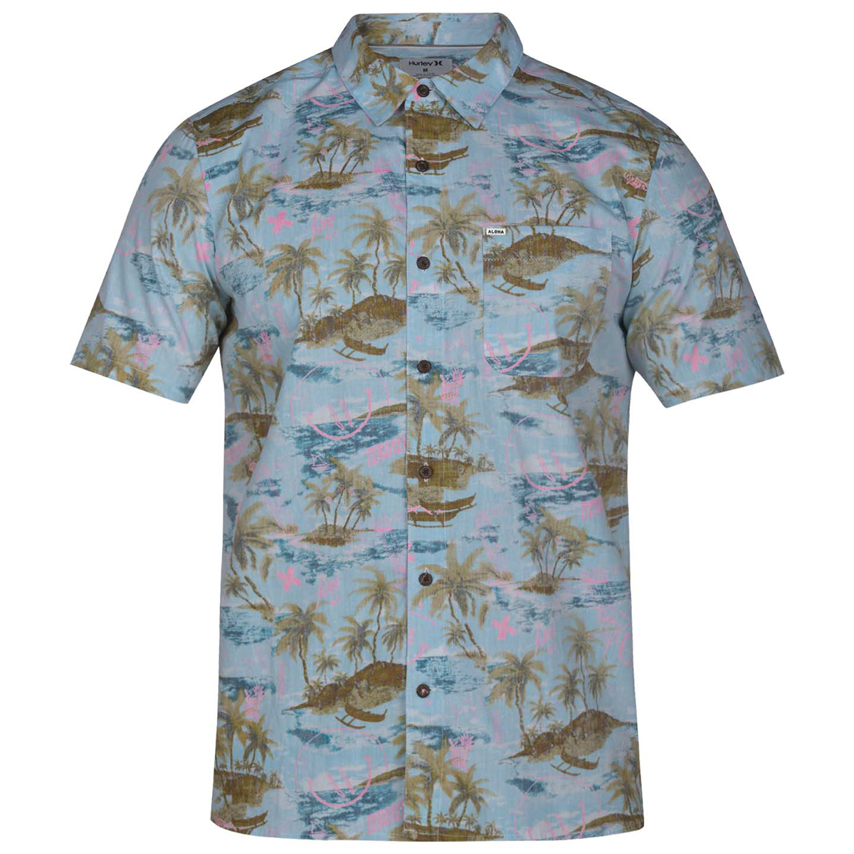 Hurley Young Men's Outrigger Woven Short-Sleeve Shirt - Blue, M