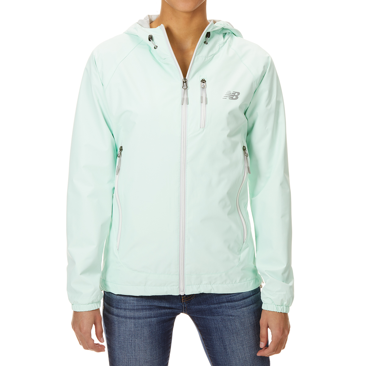 New Balance Women's Solid Id Dobby Hooded Jacket With Chest Pocket - Green, XL