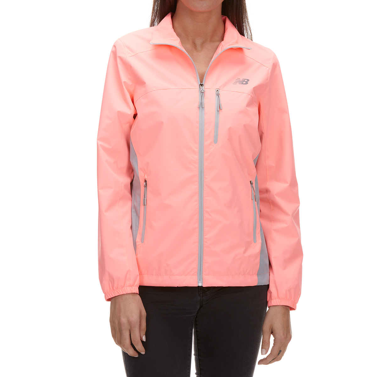 New Balance Women's Poly Dobby Mock Neck Jacket - Orange, L