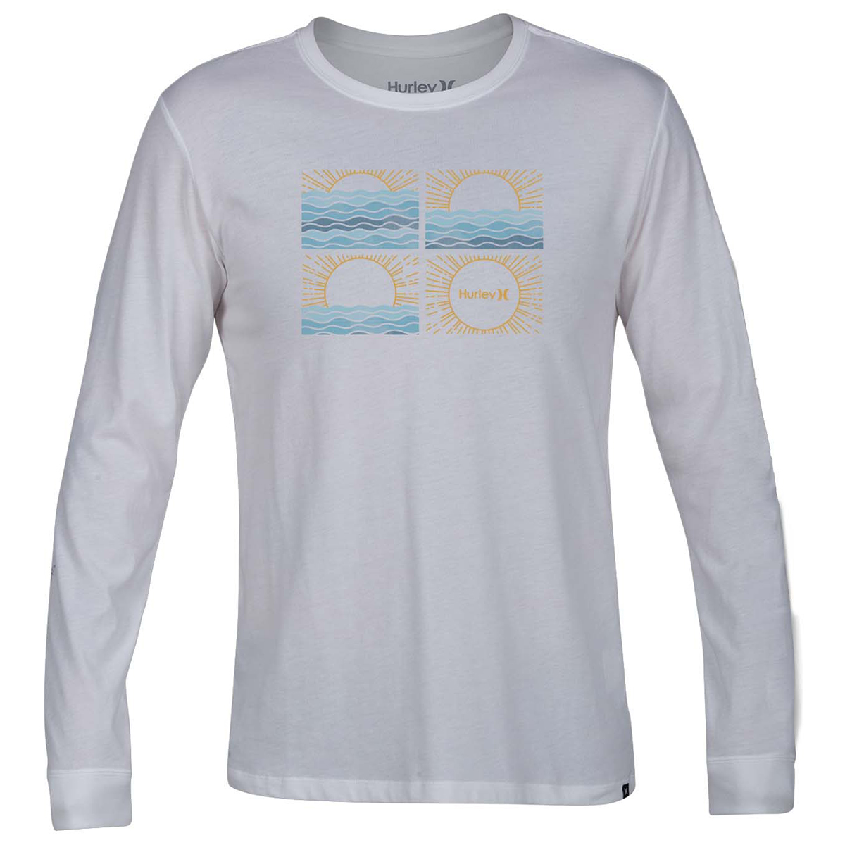 Hurley Guys' Sunrise Graphic Long-Sleeve Tee - White, L