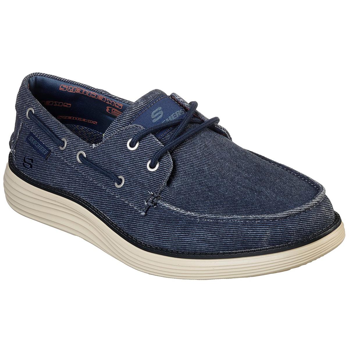 Skechers Men's Status 2.0 Lorano Moc Toe Canvas Shoes - Blue, 9.5