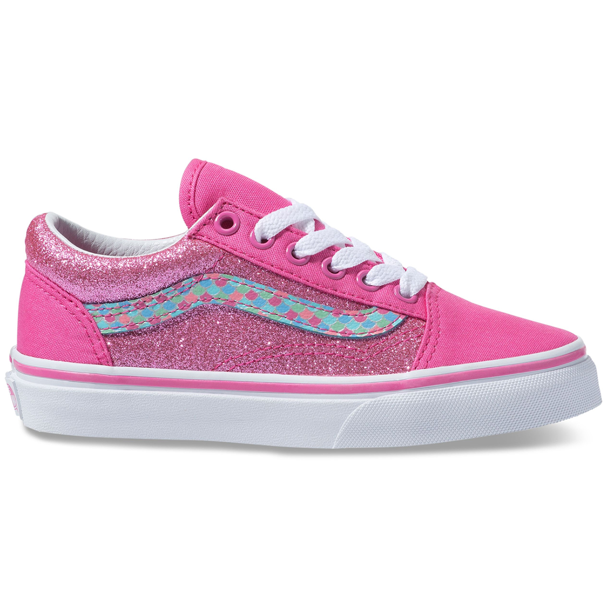 Vans Big Girls' Old Skool Mermaid Scales Sneakers - Red, 3