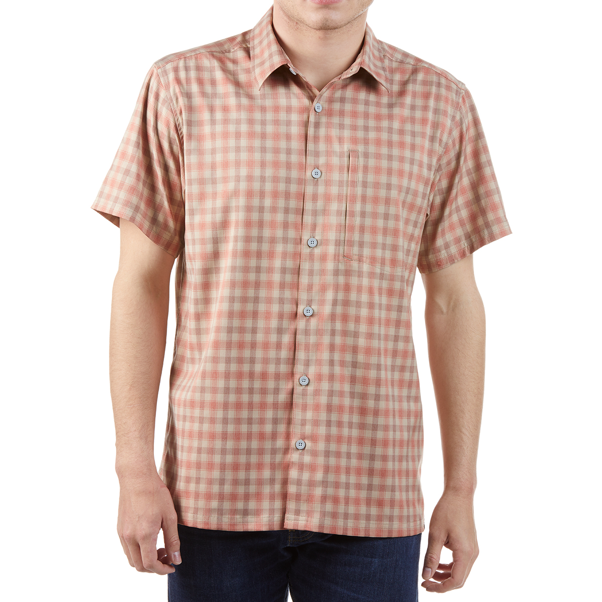 Ems Men's Journey Woven Short-Sleeve Shirt - Brown, S