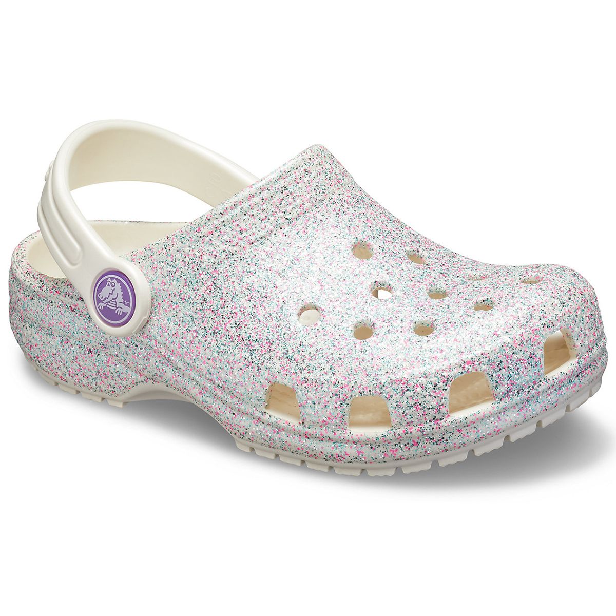 Crocs Girls' Classic Glitter Clog - White, 1