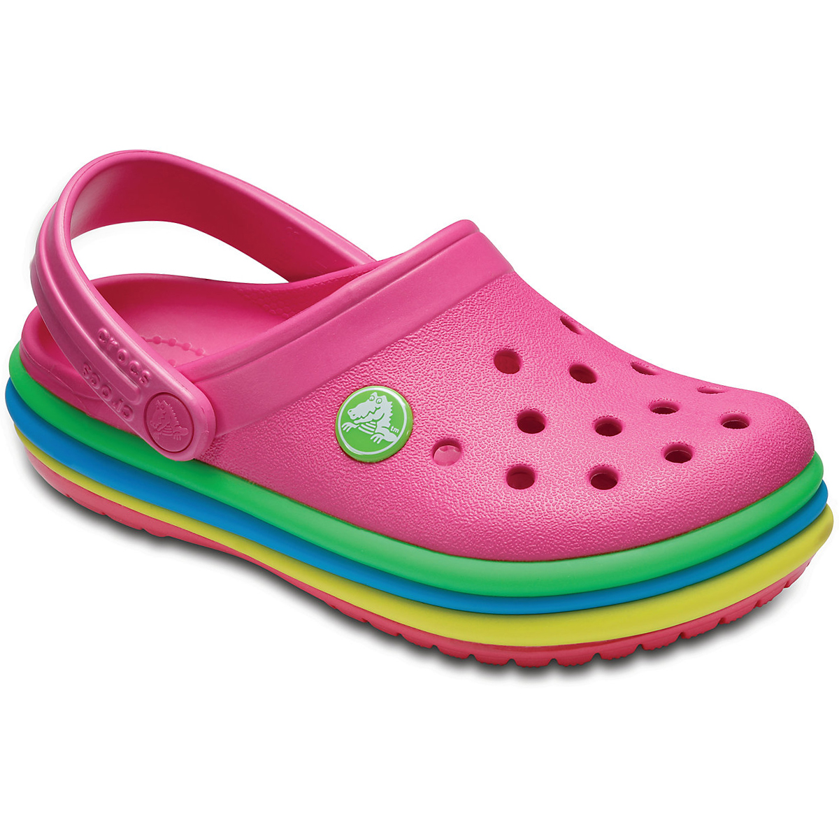 Crocs Kids' Crocband Rainbow Band Clog - Red, 11