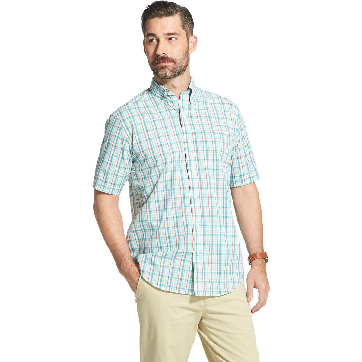 Arrow Men's Hamilton Poplin Plaid Short-Sleeve Button Down Shirt - Green, XL