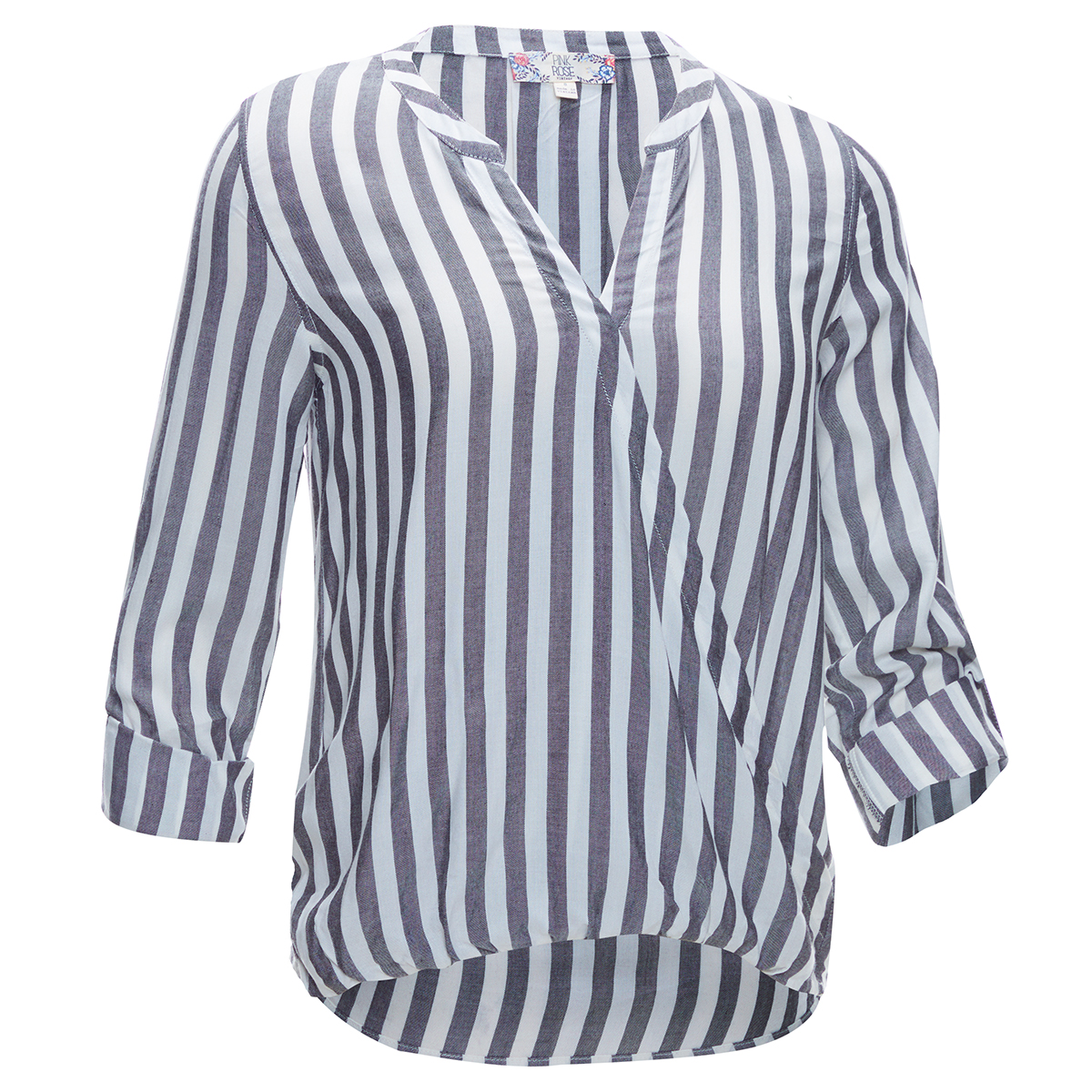 Pink Rose Juniors' Roll Tab Sleeve Stripe Surplus Front Shirt - White, S