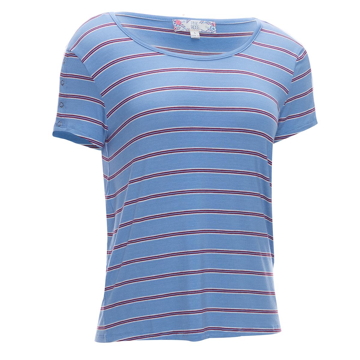 Pink Rose Juniors' Short-Sleeve Rayon Stripe Scoop Neck Snap Trim Jersey Tee - Blue, M