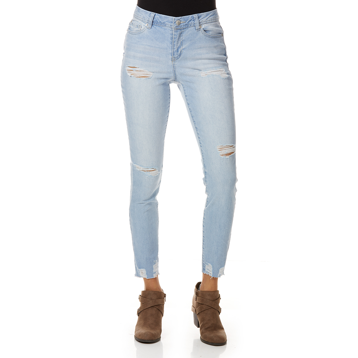 Blue Spice Juniors' Denim Destructed Crop Jeans