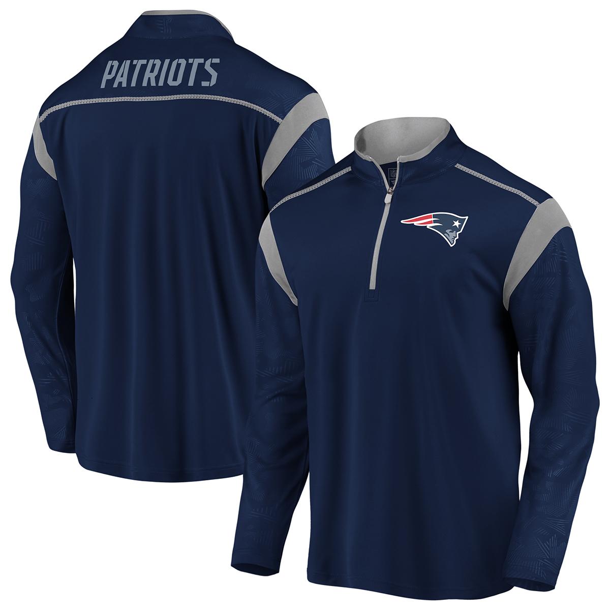 New England Patriots Men's Defender Mission 14-Zip Pullover - Blue, XL