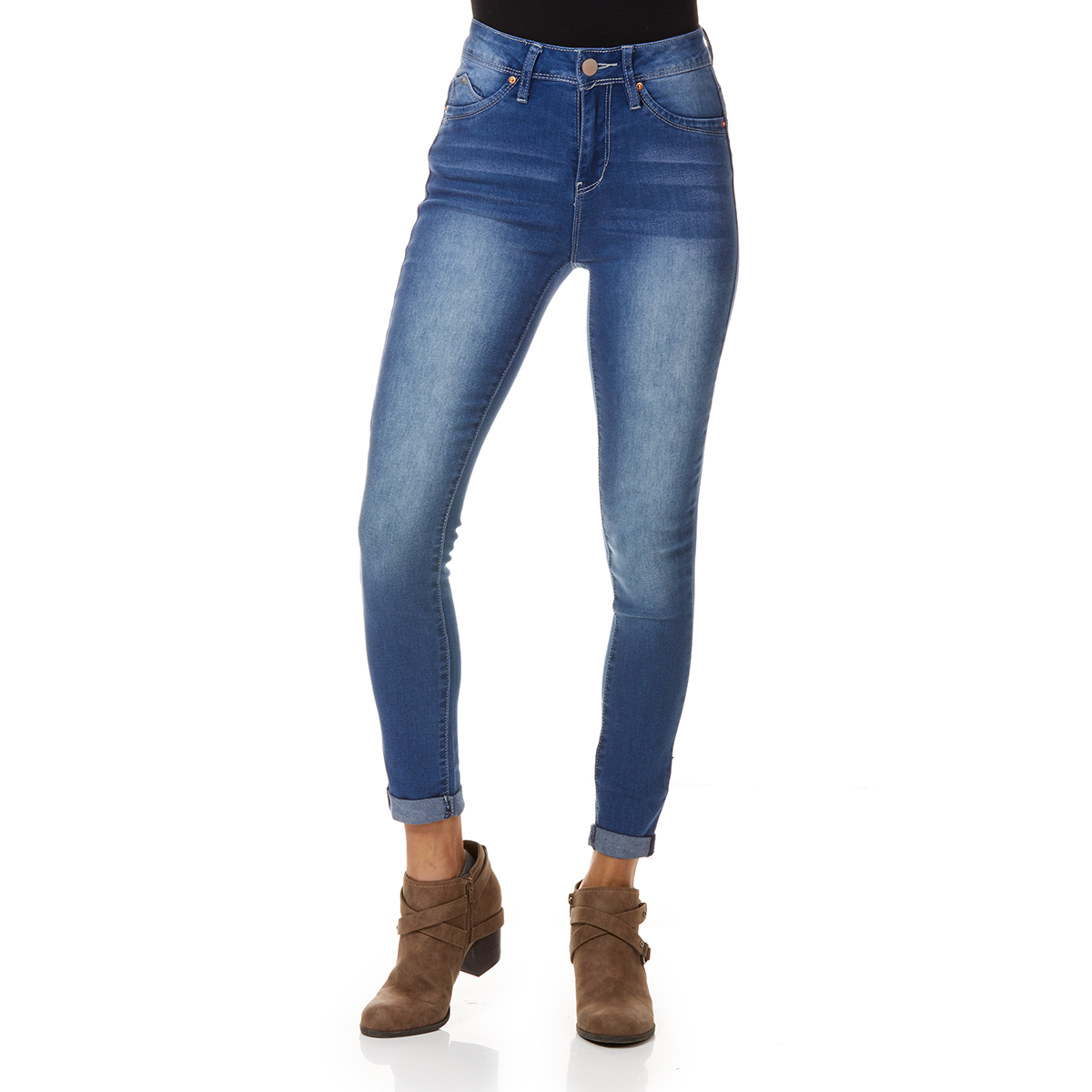 YMI Juniors' Denim Luxe Lift Rolled Cuff Jeans - Blue, 13