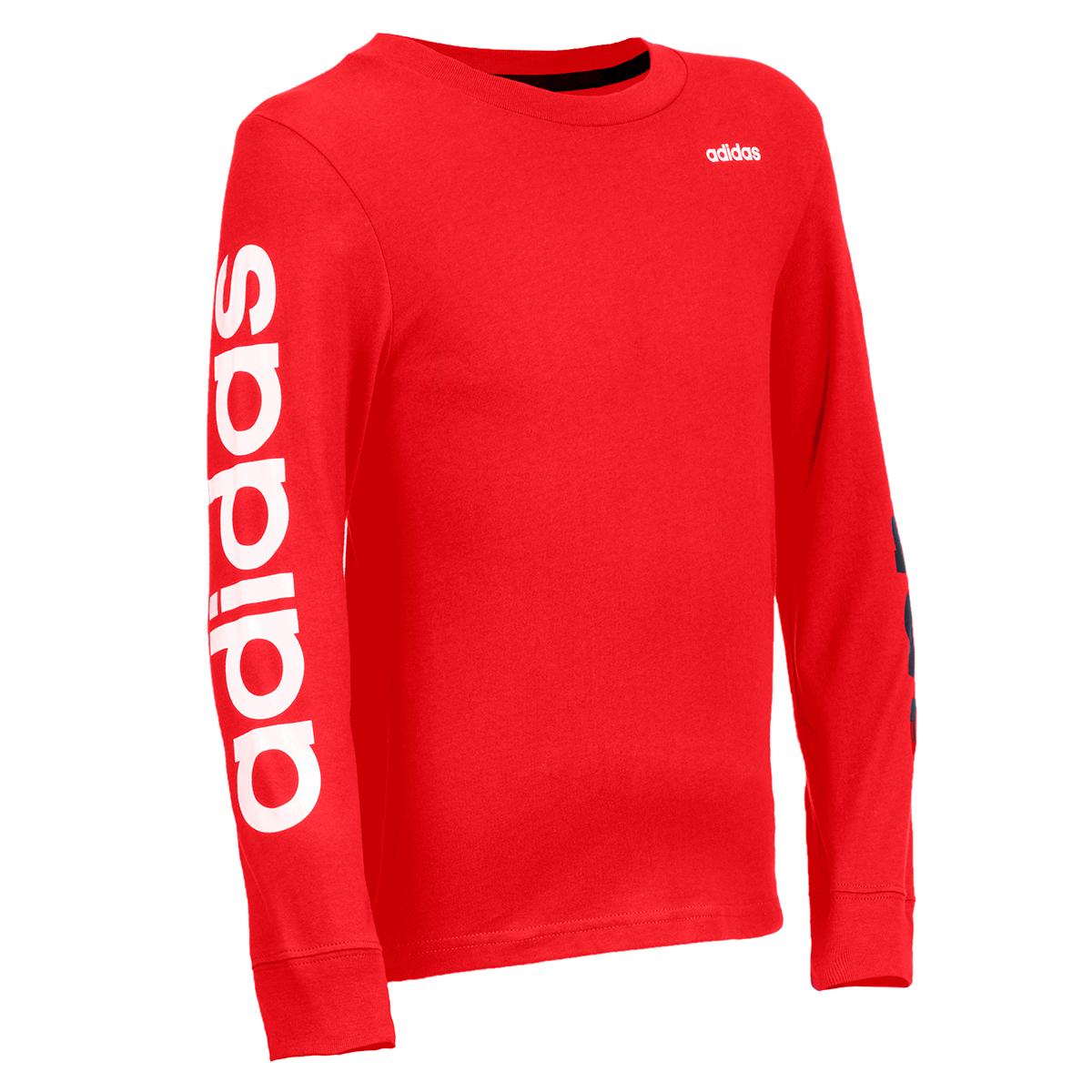 Adidas Big Boy's Long-Sleeve Linear Cotton Tee - Red, S
