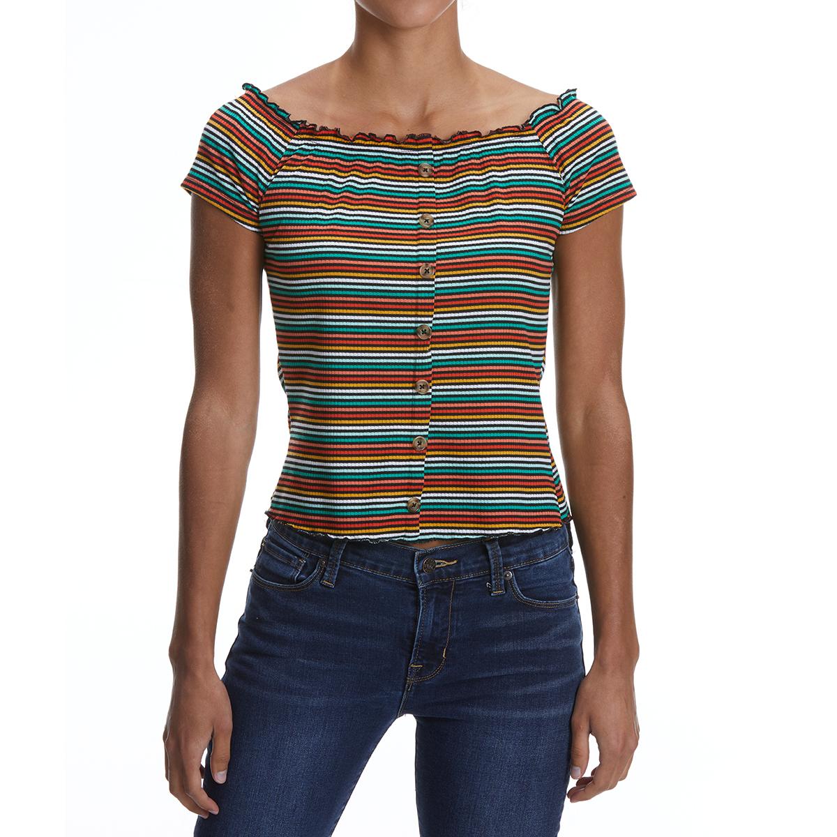 No Comment Juniors' Off-The-Shoulder Short-Sleeve Shirt - Black, XL