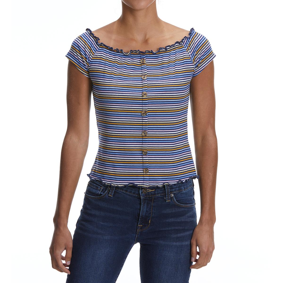 No Comment Juniors' Off-The-Shoulder Short-Sleeve Shirt - Blue, L
