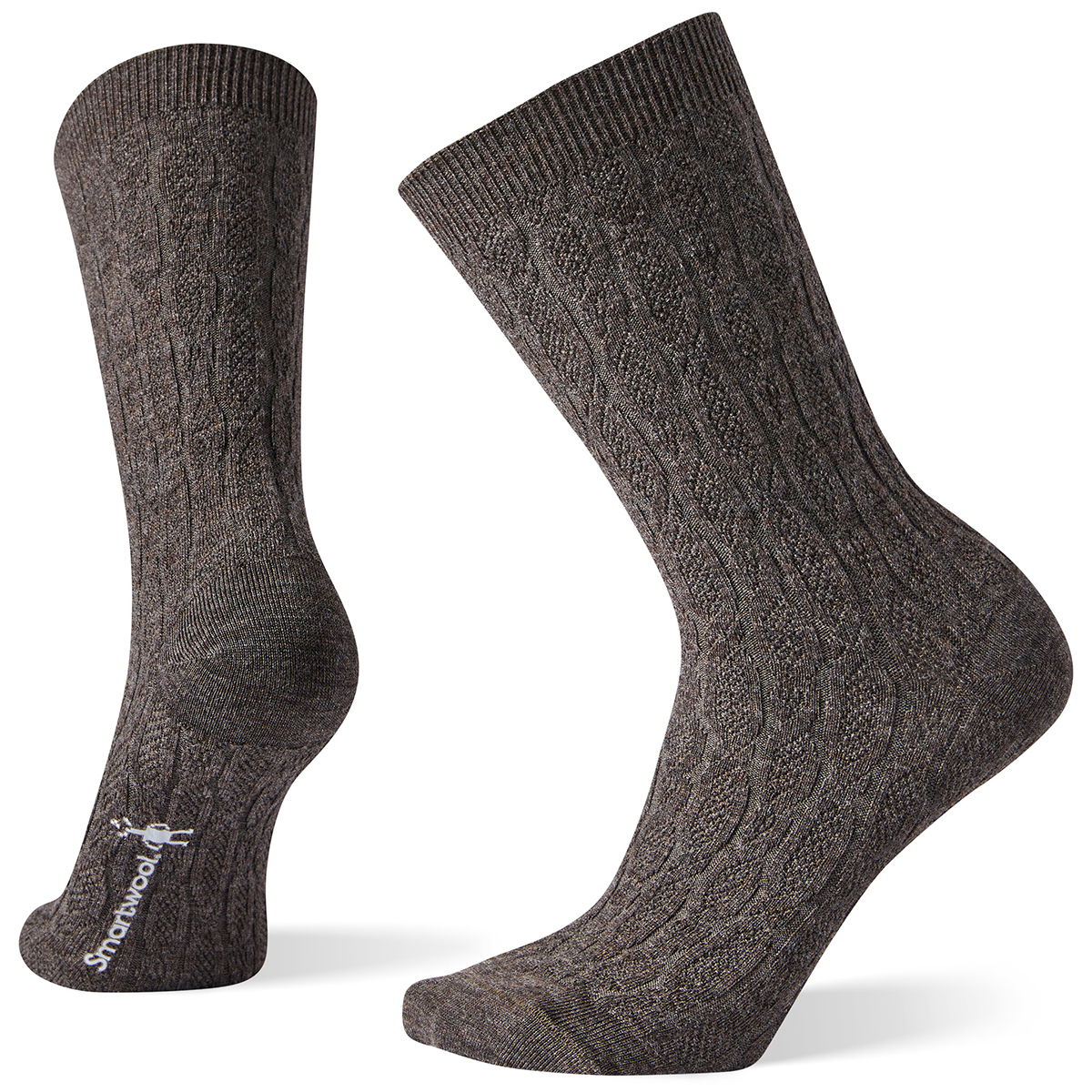 Smartwool Women's Chain Link Cable Crew Socks - Brown, M