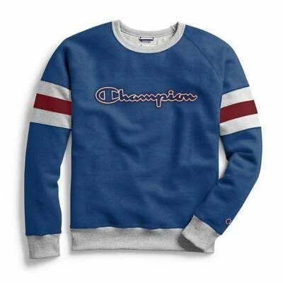 Champion Men's Powerblend Colorblock Crew Neck Sweatshirt - Blue, M