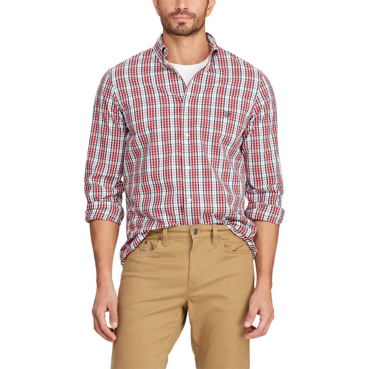 Chaps Men's Easy-Care Stretch Woven Long-Sleeve Shirt - Red, M