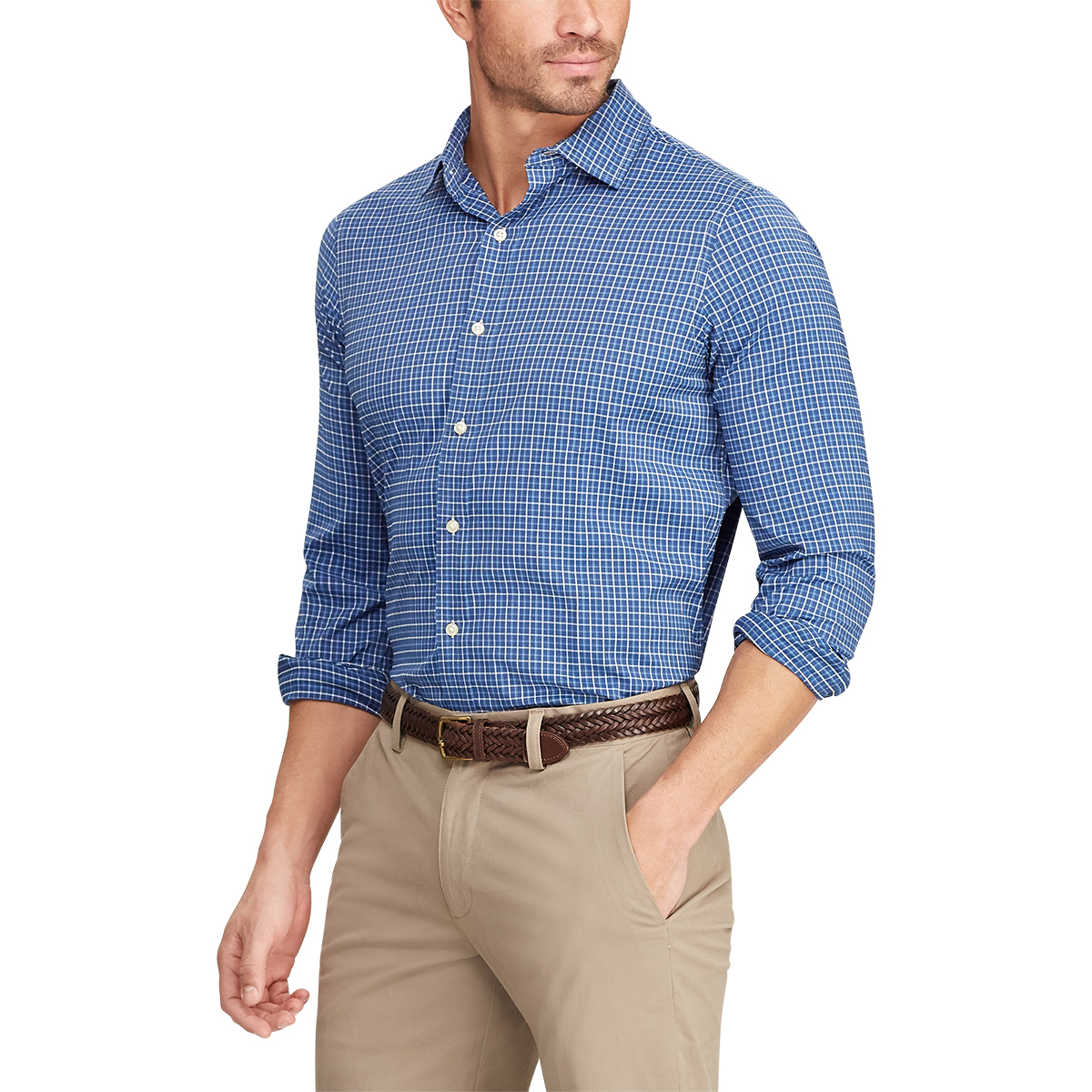 Chaps Men's Long-Sleeve Performance Tattersall Stretch Twill Button Down Shirt - Various Patterns, M