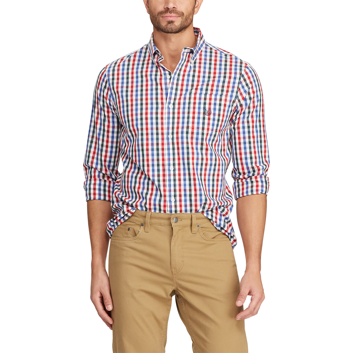 Chaps Men's Easy-Care Stretch Gingham Woven Long-Sleeve Shirt - White, M