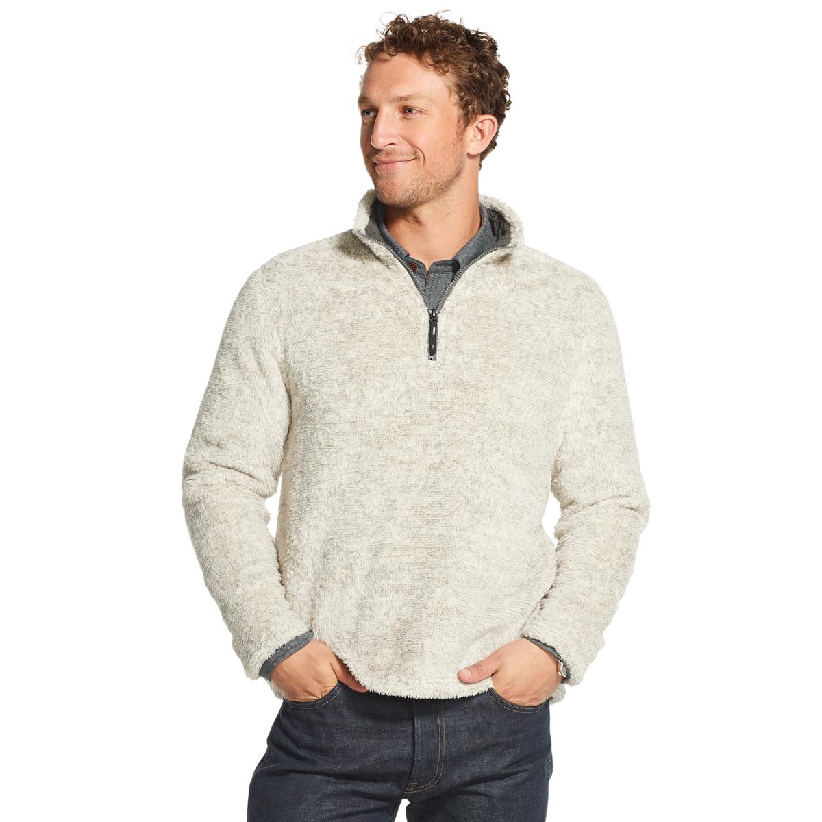 Arrow Men's Gh Bass Sherpa Melange Quarter Zip Fleece Pullover - Black, XL