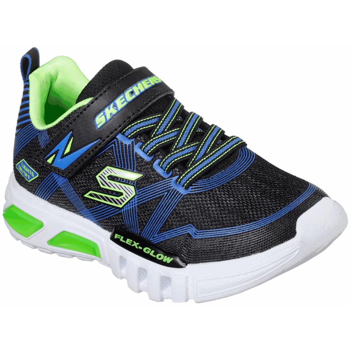 Skechers Kids' Flex Glow Lights Sneakers - Black, 12