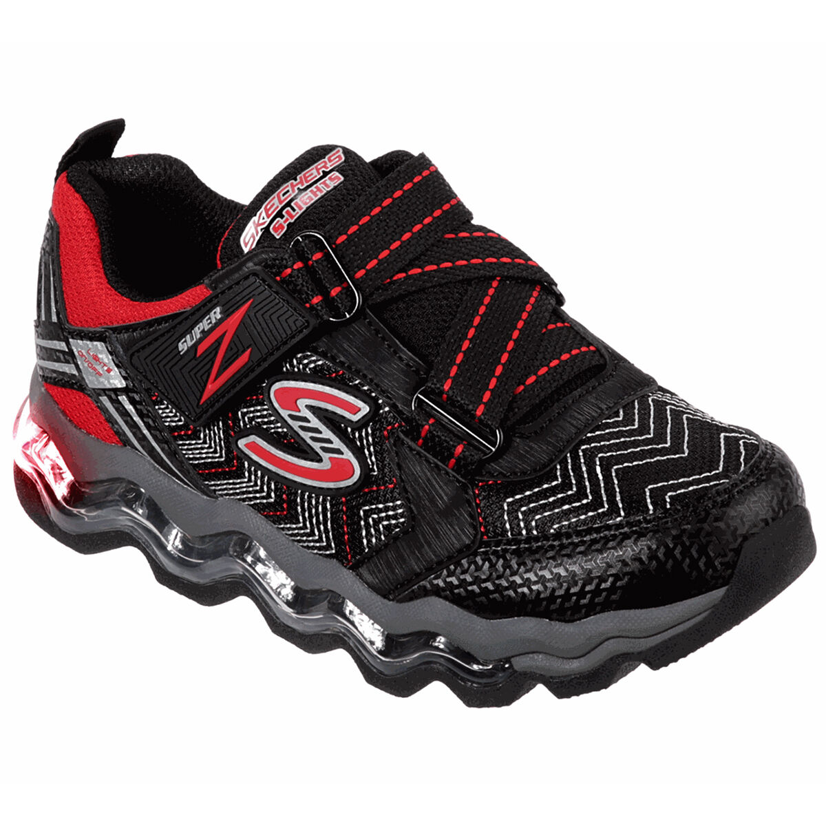 Skechers Boys' S-Lights Turbowave Sneakers - Black, 1.5