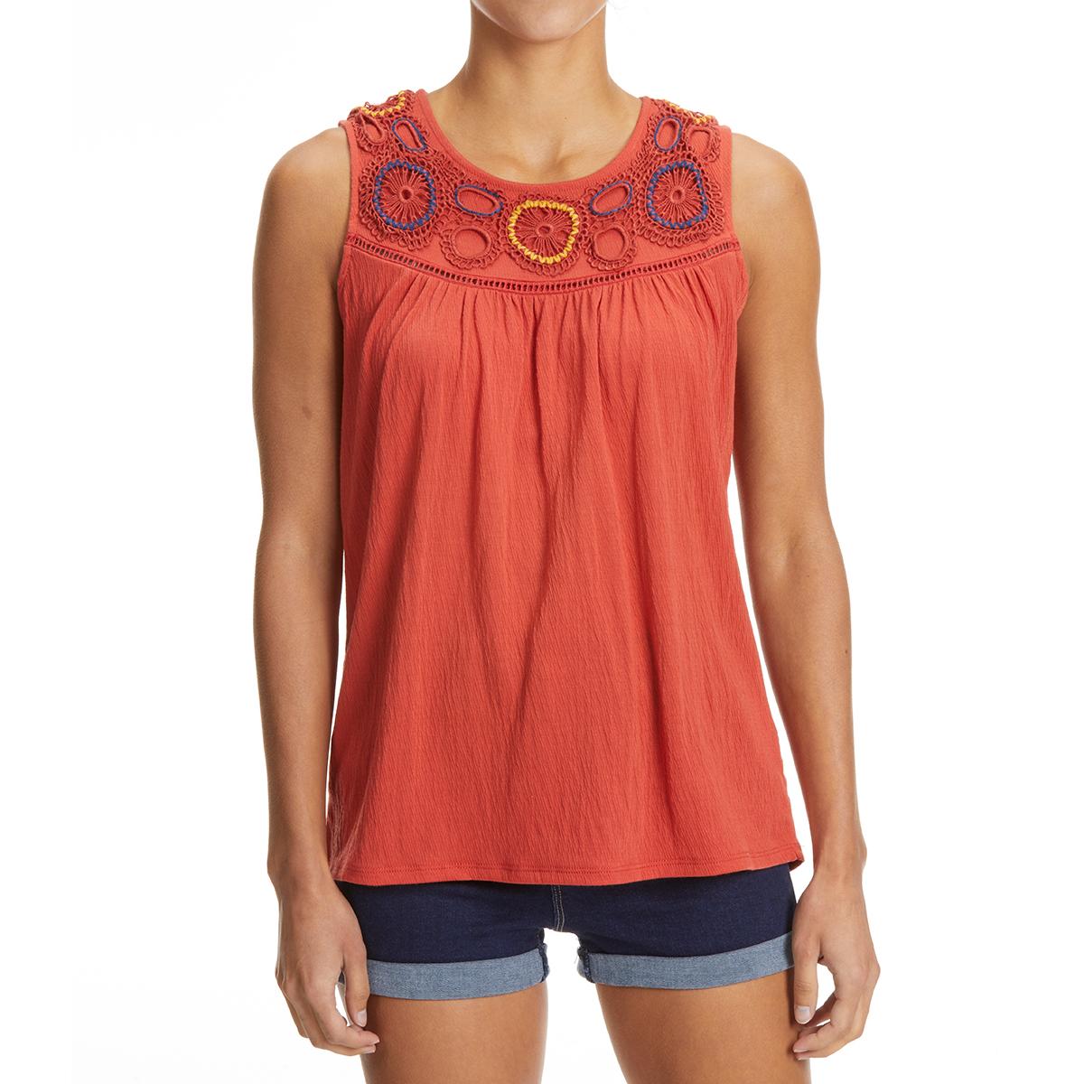 Absolutely Famous Crochet Front Tank Top - Orange, L
