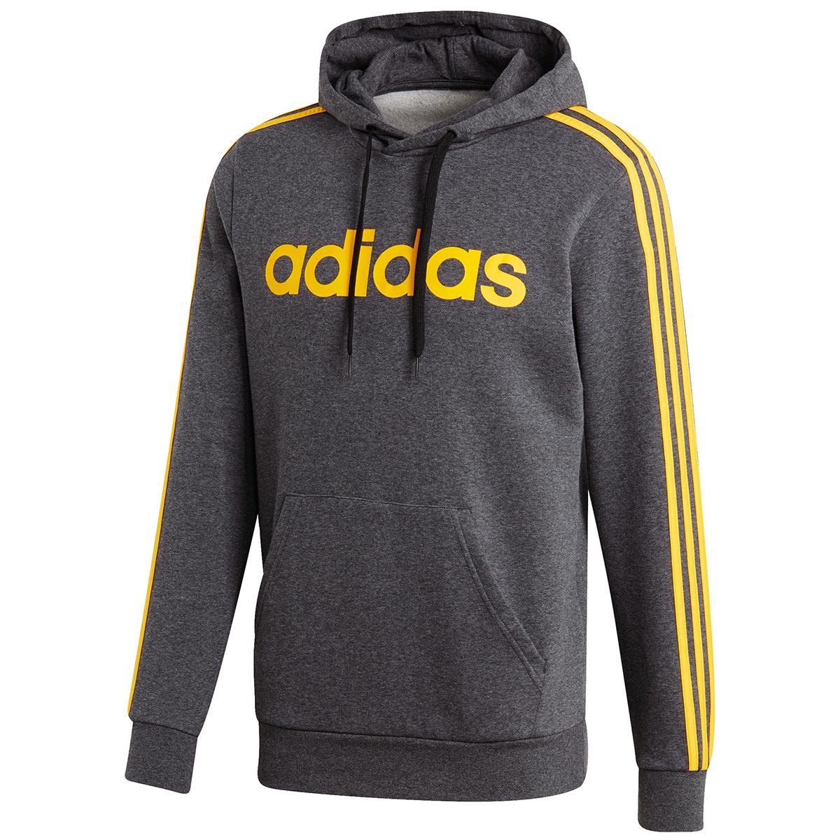 Adidas Men's Essentials 3 Stripe Pullover Hoodie - Black, XL