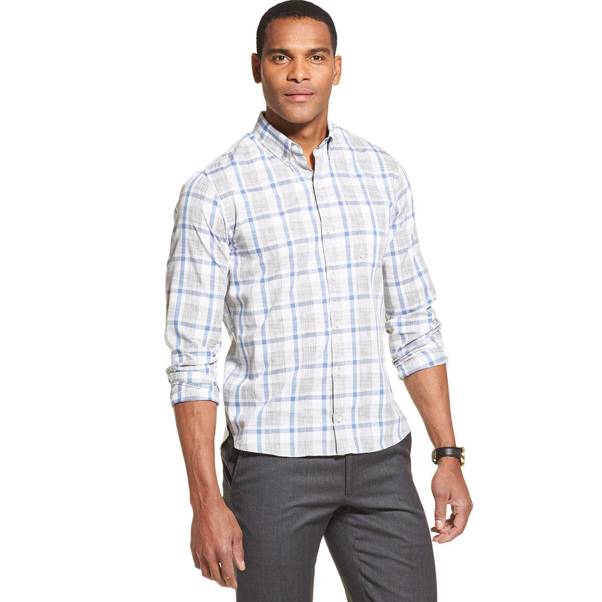 Van Heusen Men's Never Tuck Long-Sleeve Slim Fit Shirt - Various Patterns, M