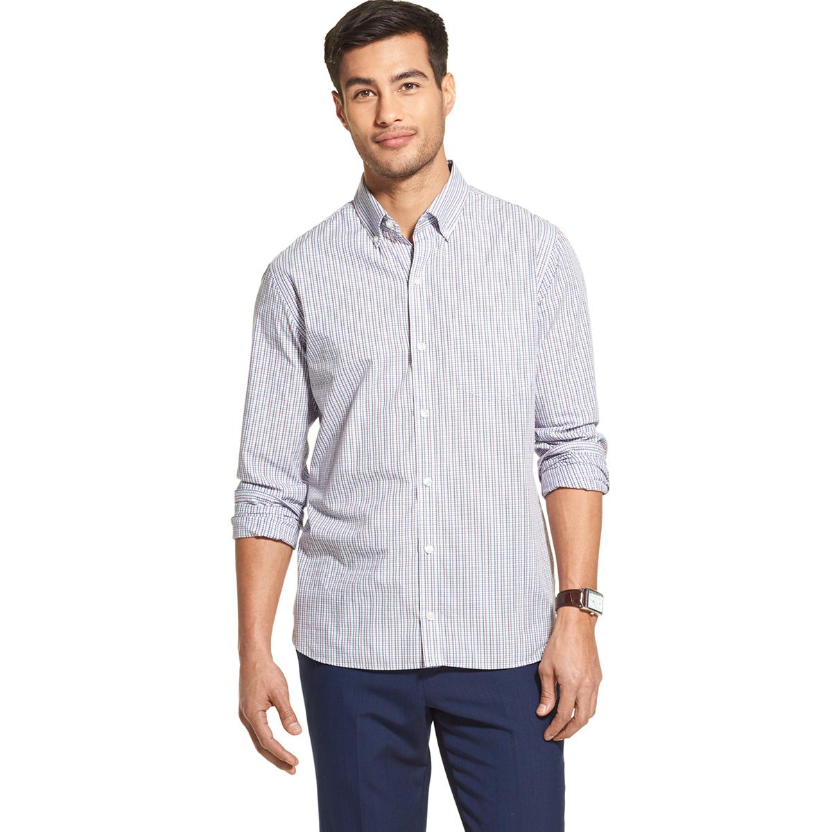 Van Heusen Men's Never Tuck Long-Sleeve Slim Fit Button-Front Shirt - White, M