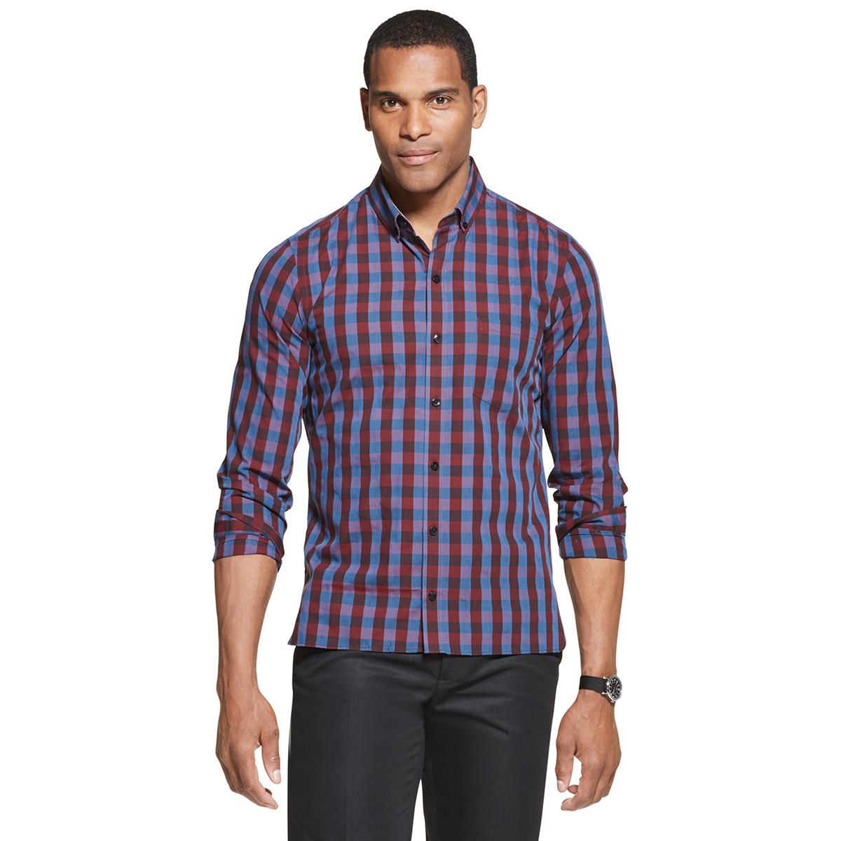Van Heusen Men's Never Tuck Long-Sleeve Slim Fit Check Shirt - Brown, M