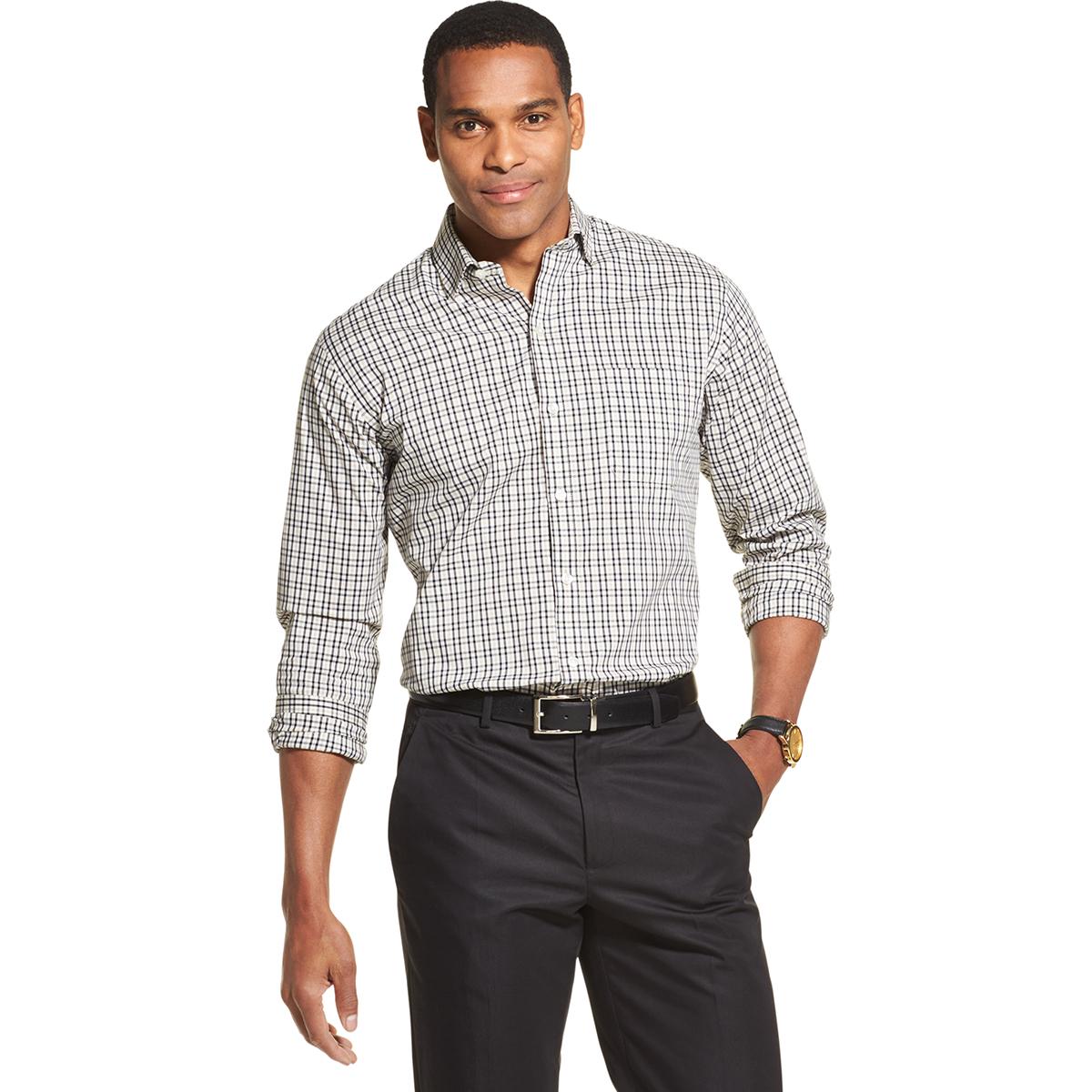 Van Heusen Men's Never Tuck Long-Sleeve Traveler Button-Down Shirt - Various Patterns, M